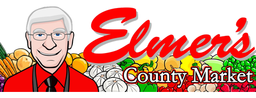 A theme footer logo of Elmer's County Market